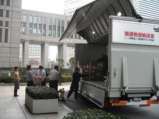 被災地の病院で不足する医療資材類等の緊急輸送